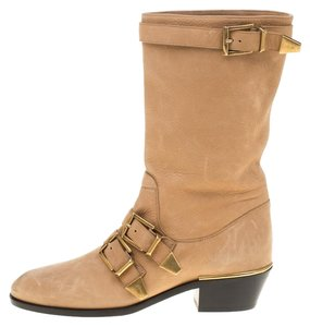 Chloé Leather Beige Boots