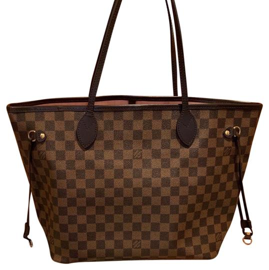Preload https://img-static.tradesy.com/item/25377551/louis-vuitton-neverfull-damier-ebene-mm-with-rose-ballerine-interior-brown-coated-canvas-tote-0-1-540-540.jpg