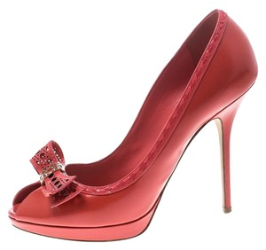Dior Leather Peep Toe Red Pumps