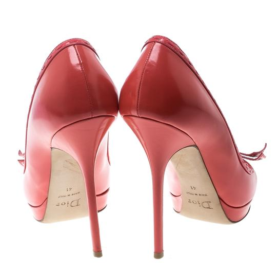 Dior Leather Peep Toe Red Pumps Image 4