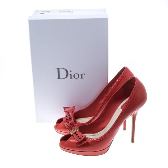 Dior Leather Peep Toe Red Pumps Image 7