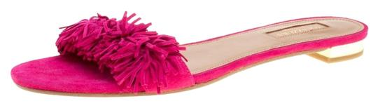 Aquazzura Suede Leather Pink Flats Image 0