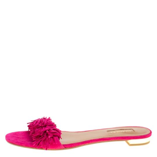 Aquazzura Suede Leather Pink Flats Image 1