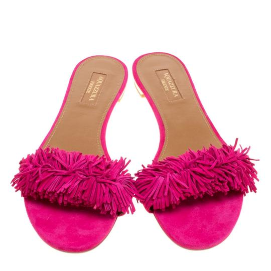 Aquazzura Suede Leather Pink Flats Image 2