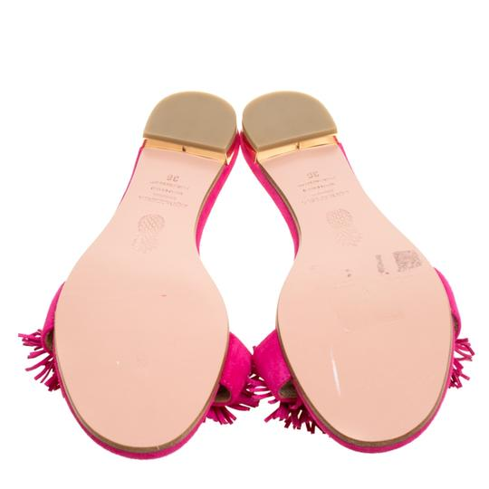 Aquazzura Suede Leather Pink Flats Image 5