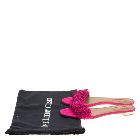 Aquazzura Suede Leather Pink Flats Image 7