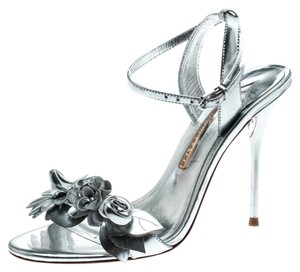 Sophia Webster Leather Floral Embellished Ankle Metallic Sandals