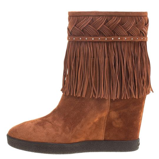 Le Silla Suede Wedge Leather Brown Boots Image 1
