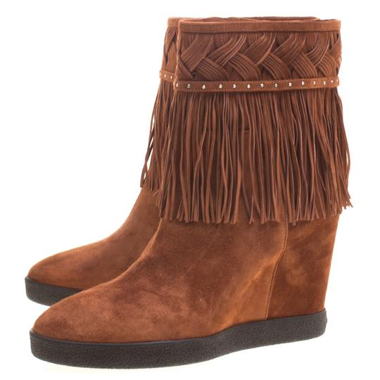 Le Silla Suede Wedge Leather Brown Boots Image 3