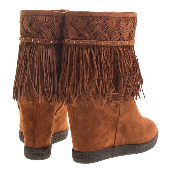Le Silla Suede Wedge Leather Brown Boots Image 4