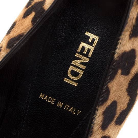 Fendi Leopard Print Pointed Toe Leather Brown Pumps Image 6