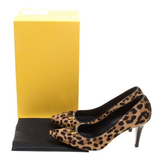 Fendi Leopard Print Pointed Toe Leather Brown Pumps Image 7
