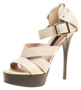 Burberry Brit Leather Strappy Platform Beige Sandals
