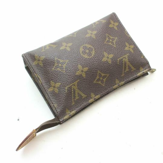 Louis Vuitton Pouch Cosmetic Make Up Flat Brown Clutch Image 5