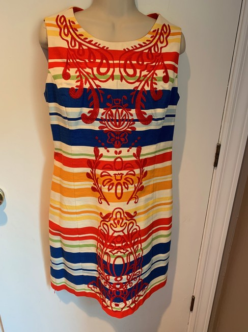 Anthropologie short dress white, blue, red, green, orange Work/Office Tabitha Striped Embroidered Sheath on Tradesy Image 2