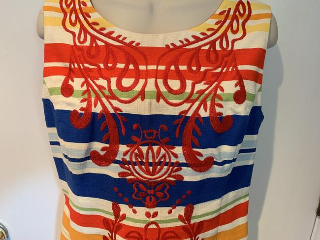 Anthropologie short dress white, blue, red, green, orange Work/Office Tabitha Striped Embroidered Sheath on Tradesy Image 3