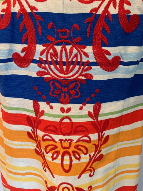 Anthropologie short dress white, blue, red, green, orange Work/Office Tabitha Striped Embroidered Sheath on Tradesy Image 5