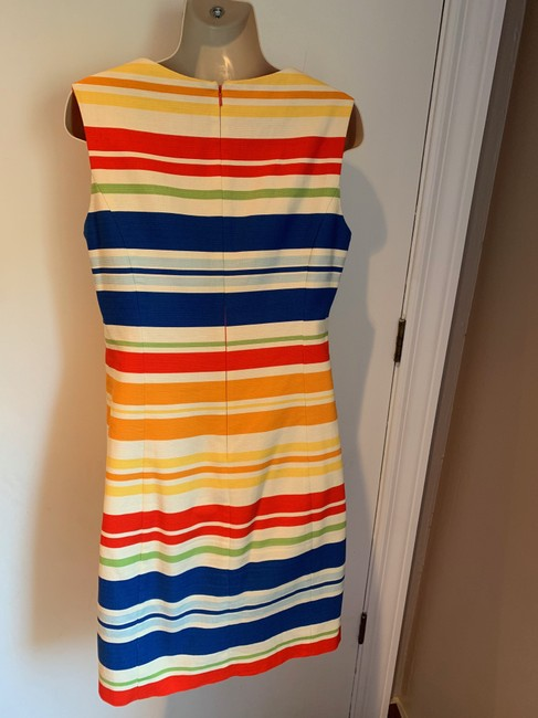 Anthropologie short dress white, blue, red, green, orange Work/Office Tabitha Striped Embroidered Sheath on Tradesy Image 6