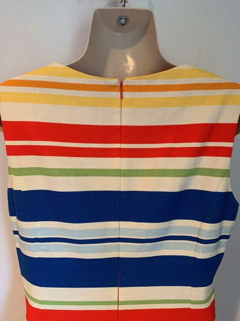 Anthropologie short dress white, blue, red, green, orange Work/Office Tabitha Striped Embroidered Sheath on Tradesy Image 7