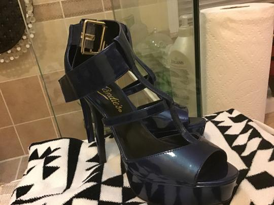 Candie's Patent Leather Pumps Blue Platforms Image 1