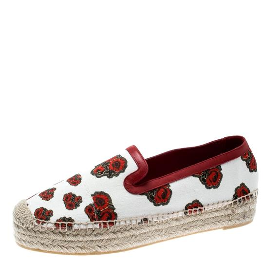 Alexander McQueen Canvas Leather White Flats Image 1
