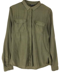 Topshop Button Down Shirt Olive Green