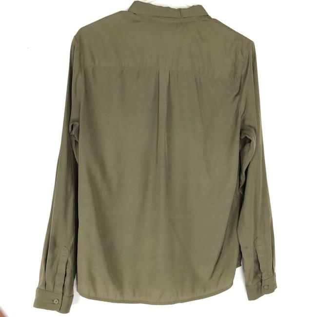 Topshop Button Down Shirt Olive Green Image 1