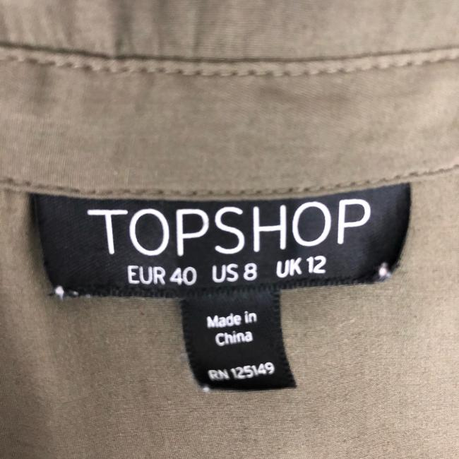 Topshop Button Down Shirt Olive Green Image 2