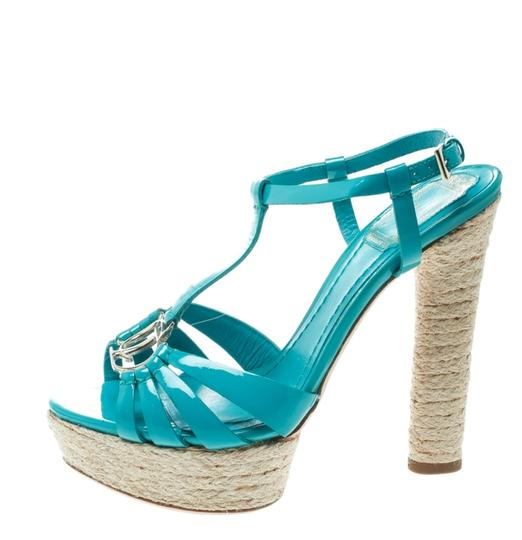 Dior Patent Leather Espadrille Platform Green Sandals Image 1