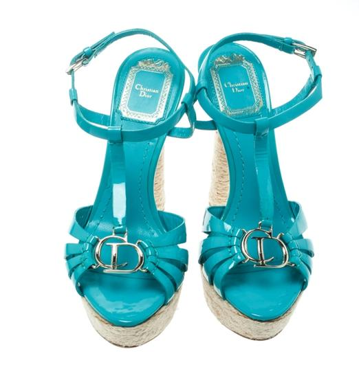 Dior Patent Leather Espadrille Platform Green Sandals Image 2