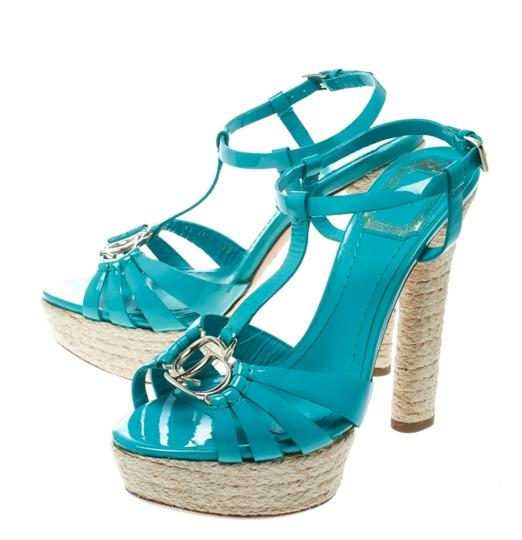 Dior Patent Leather Espadrille Platform Green Sandals Image 3