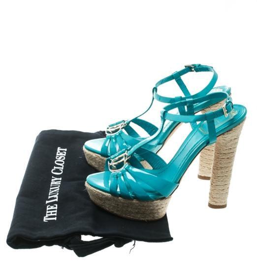 Dior Patent Leather Espadrille Platform Green Sandals Image 7