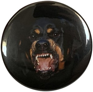 Givenchy Givenchy Logo Rottweiler Dog Large Black Round Badge Pin Brooch