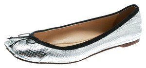 Christian Louboutin Leather Square Toe Ballet Silver Flats
