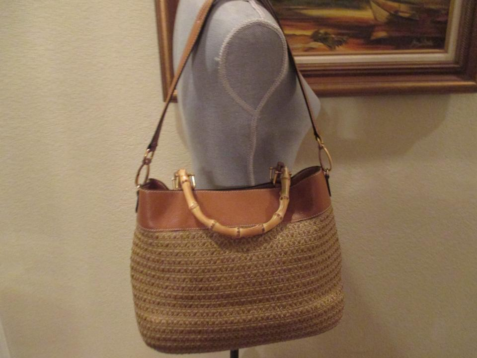 311db8ce6a8d Eric Javits Bag Analu Squishee with Shoulder Strap Bamboo Handles Brown  Polyester