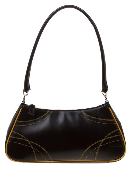Dark Brown/Yellow Brown Leather Shoulder Bag by Prada