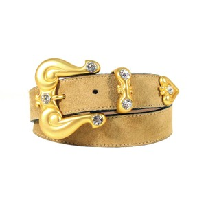 "B.B. Simon B.B. SIMON Matte Gold Crystal Buckle Suede Belt Women's XS/S (24""-28"")"