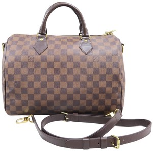 Louis Vuitton Lv Damier Ebene Speedy Bandonliere Satchel in Brown