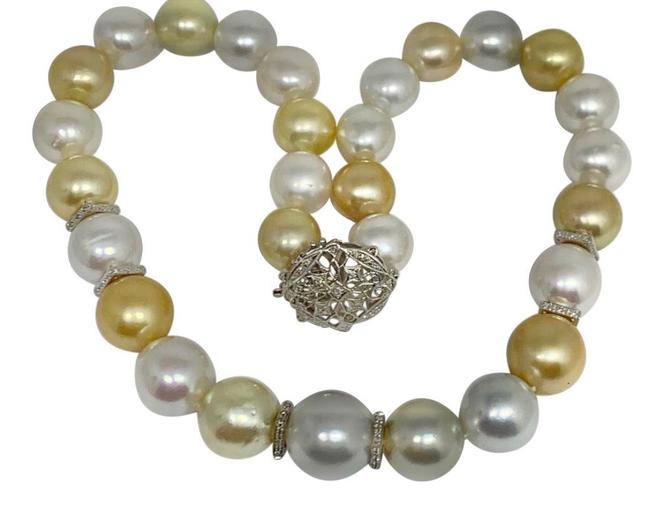 "Vintage Golden White Diamond South Sea Pearl 18k Gold 16.5 Mm 17"" Certified 914645 Necklace Vintage Golden White Diamond South Sea Pearl 18k Gold 16.5 Mm 17"" Certified 914645 Necklace Image 1"