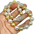 "Vintage Golden White Diamond South Sea Pearl 18k Gold 16.5 Mm 17"" Certified 914645 Necklace Vintage Golden White Diamond South Sea Pearl 18k Gold 16.5 Mm 17"" Certified 914645 Necklace Image 2"