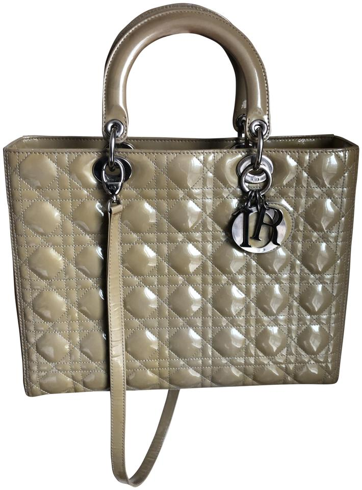 082047f0160 Dior Lady Cannage Large Beige Patent Leather Tote - Tradesy