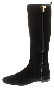 Tory Burch Suede Patent Leather Black Boots
