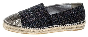 Chanel Metallic Tweed Patent Leather Black Flats