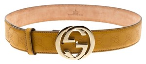 Gucci Yellow Guccissima Leather GG Buckle Belt Size 85CM