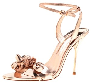 Sophia Webster Leather Rose Gold Embellished Ankle Floral Metallic Sandals