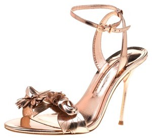 Sophia Webster Leather Floral Embellished Ankle Rose Gold Metallic Sandals
