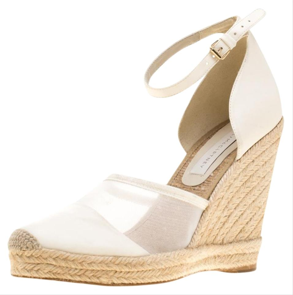 0d259c6f7f5 Stella McCartney White Mesh and Faux Leather Espadrille Ankle Strap Wedge  Sandals Size EU 40 (Approx. US 10) Regular (M, B) 25% off retail