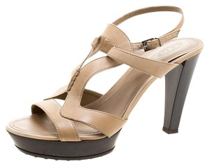 Tod's Leather Cut-out Beige Sandals