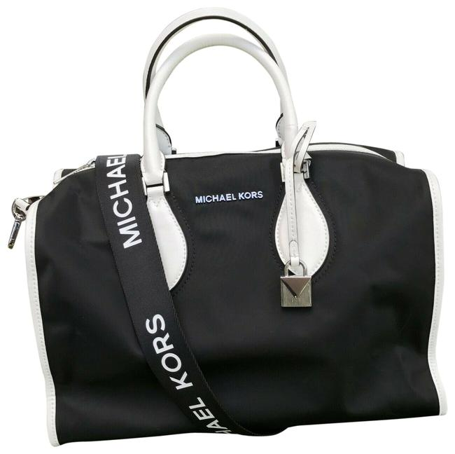 Item - Duffle Connie Gym In Black and White Nylon Satchel