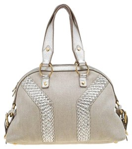 Saint Laurent Leather Canvas Satchel in Beige